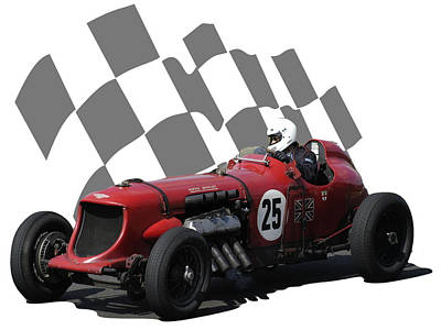 Photograph - Vintage Racing Car And Flag 3 by John Colley