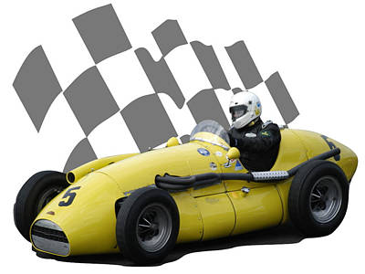 Photograph - Vintage Racing Car And Flag 4 by John Colley