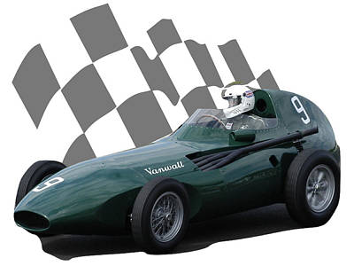Photograph - Vintage Racing Car And Flag 5 by John Colley