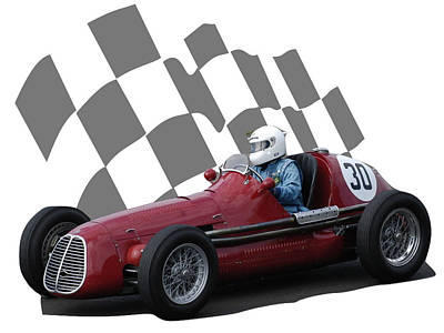 Photograph - Vintage Racing Car And Flag 6 by John Colley