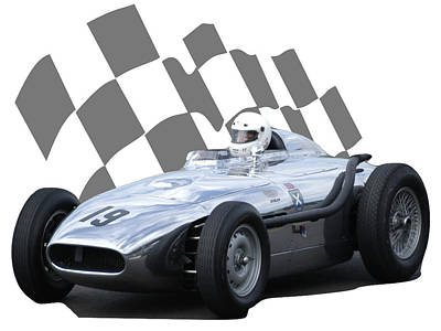 Photograph - Vintage Racing Car And Flag 7 by John Colley