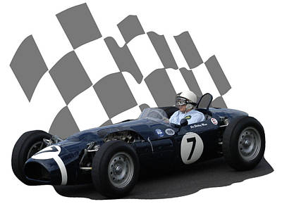 Photograph - Vintage Racing Car And Flag 8 by John Colley
