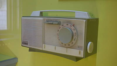 Modern Photograph - Vintage Radio With Lime Green Background by Matthew Bamberg