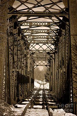 Railroad Bridge Photograph - Vintage Railroad Bridge In Snow by Olivier Le Queinec