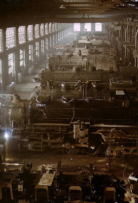 Railroads Photograph - Vintage Railroad Locomotive Shop - 1942 by War Is Hell Store
