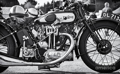 Photograph - Vintage Raleigh Motorcycle Monochrome by Tim Gainey