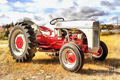 Painting - Vintage Red And White Ford Farm Tractor Painting by Edward Fielding