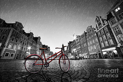 Photograph - Vintage Red Bike On Cobblestone Historic Old Town In Rain In Wroclaw by Michal Bednarek