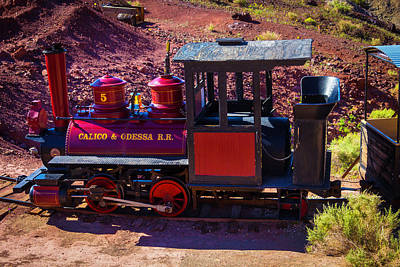 Narrow Gauge Engine Photograph - Vintage Red Calico Train by Garry Gay