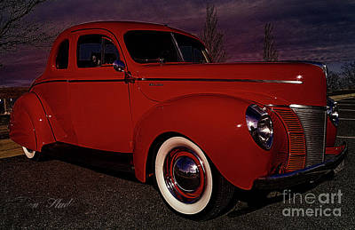 Digital Photograph - Vintage Red Car by Melissa Messick