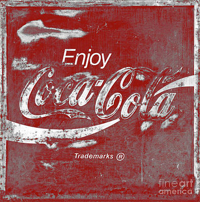 Photograph - Vintage Red Coca Cola Sign Square by John Stephens