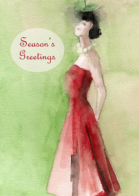 Christmas Card Painting - Vintage Red Dress Fashion Holiday Card by Beverly Brown