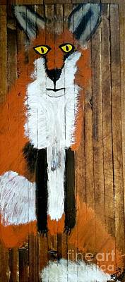 Creepy Mixed Media - Vintage Red Fox Painting by Scott D Van Osdol