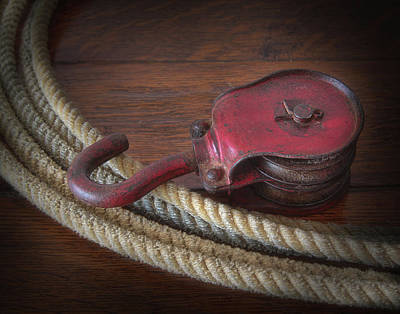 Photograph - Vintage Red Iron Pulley With Rope by David and Carol Kelly