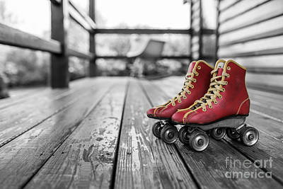 Vintage Red Roller Skates Art Print by Edward Fielding