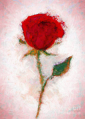 Wall Art - Painting - Vintage Red Rose  by Claire Bull