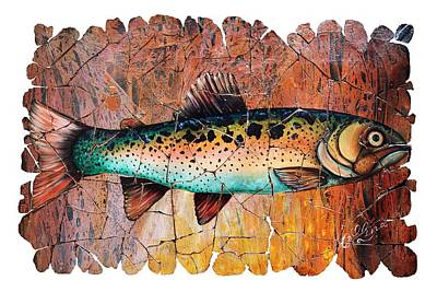 Digital Art - Vintage Red Trout Fresco  by OLena Art Brand