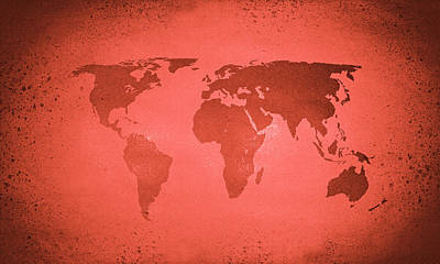 Digital Art - Vintage Red World Map by Steve Ball