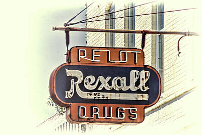 Photograph - Vintage Rexall Drug Store Sign  by HH Photography of Florida