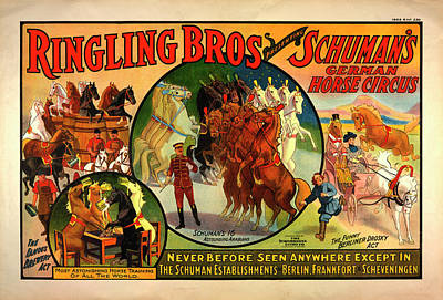 Circus Digital Art - Vintage Ringling Bros Presenting Schuman's German Horse Circus Poster by Mark Kiver