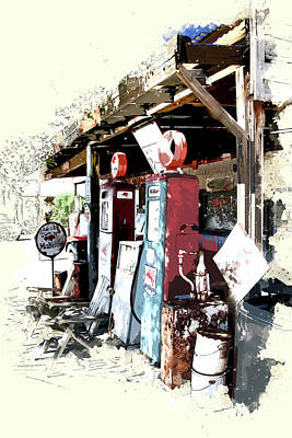 Service Station Painting - Vintage Road Trip Mobil Gas Station by Elaine Plesser
