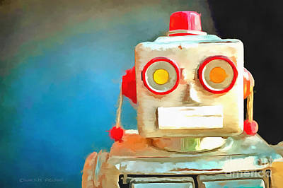 Photograph - Vintage Robot Toy Pop Art by Edward Fielding