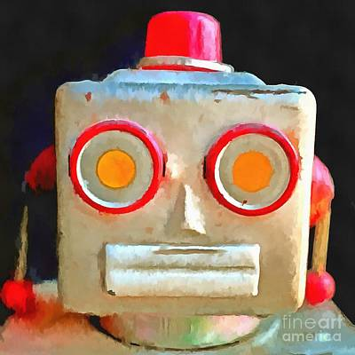 Photograph - Vintage Robot Toy Square Pop Art by Edward Fielding