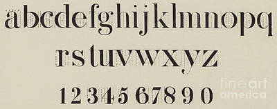 Typography Drawing - Vintage Roman Analytical Font by English School