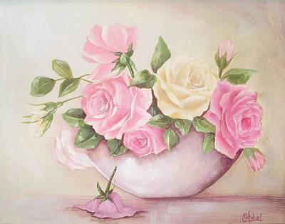 Vintage Roses Shabby Chic Roses Painting Print Art Print by Chris Hobel