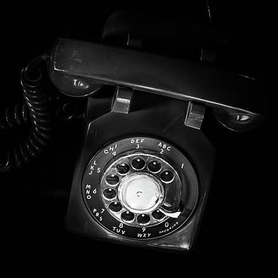 Photograph - Vintage Rotary Dial Telephone Black And White Square by Terry DeLuco