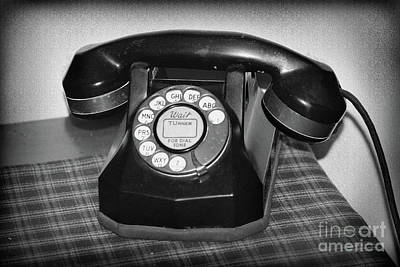 Photograph - Vintage Rotary Phone Black And White by Karen Adams