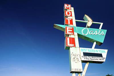 Photograph - Vintage Route 66 Motel Sign - Tulsa Oklahoma by Gregory Ballos