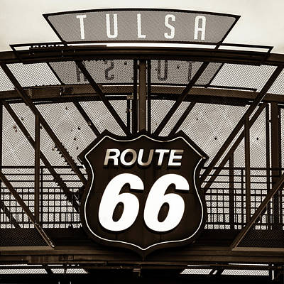 Photograph - Vintage Route 66 Tulsa Oklahoma - Sepia by Gregory Ballos