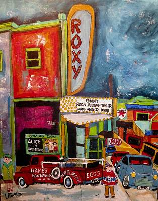 New Glasgow Painting - Vintage Roxy Theater St. Agathe Winter 1956 by Michael Litvack