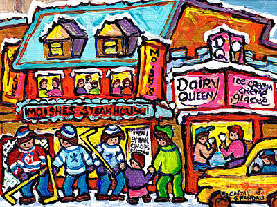 Painting - Vintage Rue St Laurent Moishe's Steakhouse Dairy Queen Montreal Winter Hockey Street Carole Spandau  by Carole Spandau