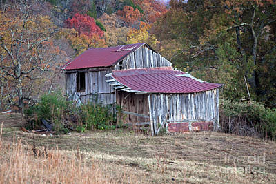 Vintage Rustic Weathered Hillside Barn Art Print by John Stephens