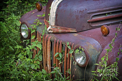 Photograph - Vintage Rusty Ford Pickup Truck Front by John Stephens
