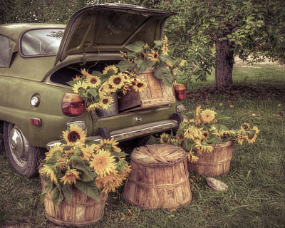 Photograph - Vintage Saab And Sunflowers 2 by Joann Vitali