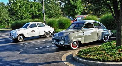 Photograph - Vintage Saab Car Duo Hdr by Tony Grider