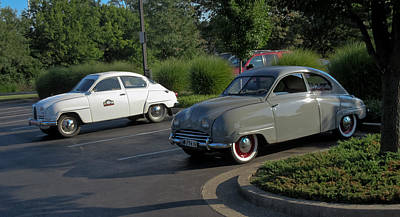 Photograph - Vintage Saab Car Duo Landscape by Tony Grider