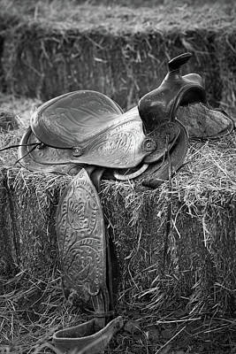 Photograph - Vintage Saddle On A Hay Bale by Eti Reid