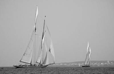 Photograph - Vintage Sail Race In Black And White by Pedro Cardona Llambias