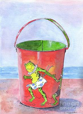 Sand Castles Painting - Vintage Sand Pail Dancing Frogs by Sheryl Heatherly Hawkins