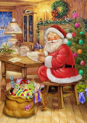 Santa Claus Painting - Vintage Santa Claus At Desk by Patrick Hoenderkamp