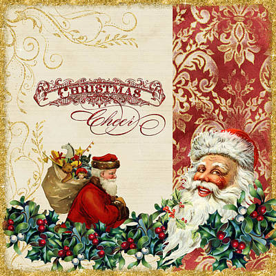 Glitter Painting - Vintage Santa Claus - Glittering Christmas 5 by Audrey Jeanne Roberts