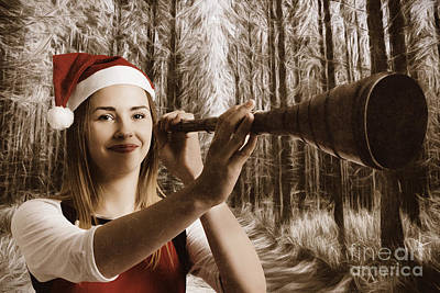 Elf Photograph - Vintage Santa Elf Searching For Christmas Fun by Jorgo Photography - Wall Art Gallery