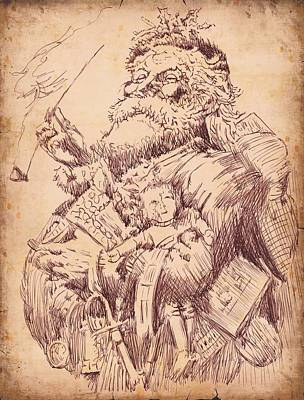 Sepia Ink Drawing - Vintage Santa by Robbi  Musser