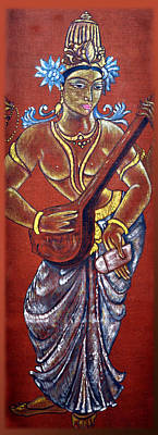 Swan Goddess Painting - Vintage Saraswati - Goddess Of Wisdom by Harsh Malik