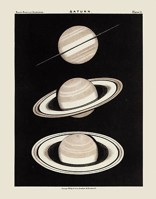 Drawing - Vintage Saturn Print By Robert Stawell Ball - 1892 by Blue Monocle