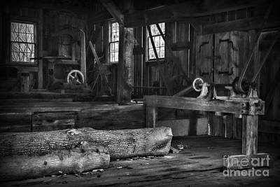 Vintage Sawmill In Black And White Print by Paul Ward